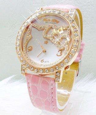 7826e26edec (10pcs)hot sale golden inlaid hello kitty watch  women s watch girl watch quartz  watch wristwatches+5color+fast shipping