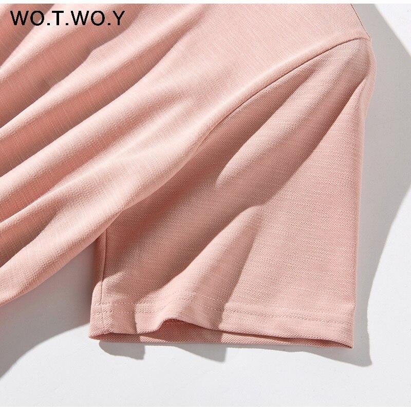Long T-shirt Dresses Women Summer Sashes Waist Slit Casual O-Neck Short Sleeve Loose Ankle-Length Dress Woman Pink Cotton 16