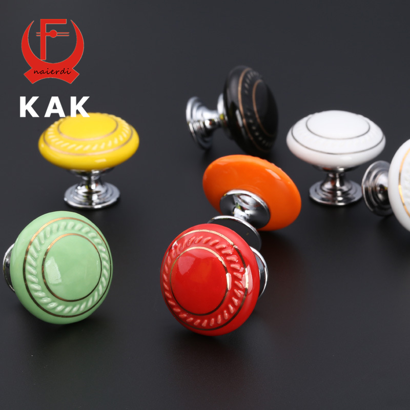 KAK Colored Ceramic Drawer Knobs Rural Cabinet Cupboard handles Fashion Simple Rural Furniture Handles Knobs Hardware