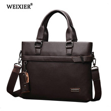 WEIXIER Classic Design High Quality Genuine Leather Handbag Multi-Functional Casual Business People Travel Solid Color