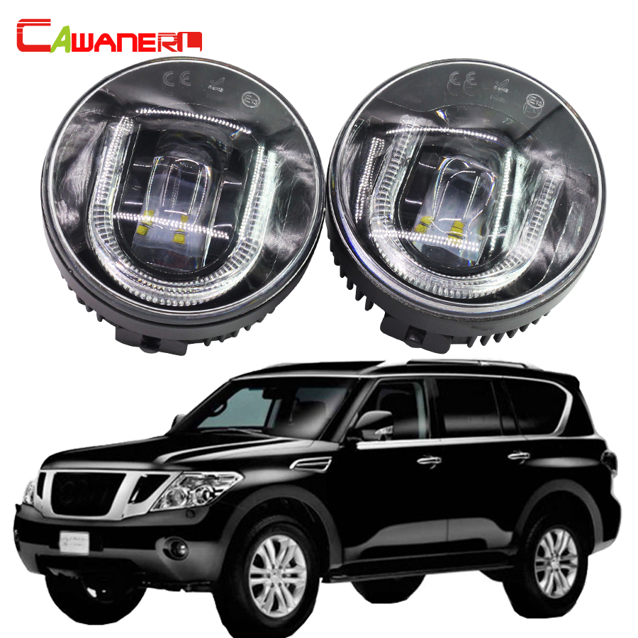 Cawanerl 1 Pair Car LED Fog Light DRL Daytime Running Lamp For Nissan Patrol III (Y62) 5.6 Closed Off-Road Vehicle 2010- cawanerl 1 pair 100w h3 car led bulb 20 smd 2200lm white 6000k automotive fog light daytime running lamp headlight low beam drl