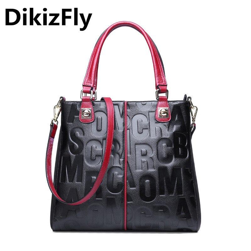 DikizFly genuine leather women messenger bags embossing letters real leather luxury handbag ladies shoulder bag mochila