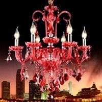 Europäischen Luxus Rote Kerze Kristall-kronleuchter 6/8 E14 Lampen Kronleuchter Leuchte Beleuchtung Für Kaffee Restaurant Wohnzimmer PL477
