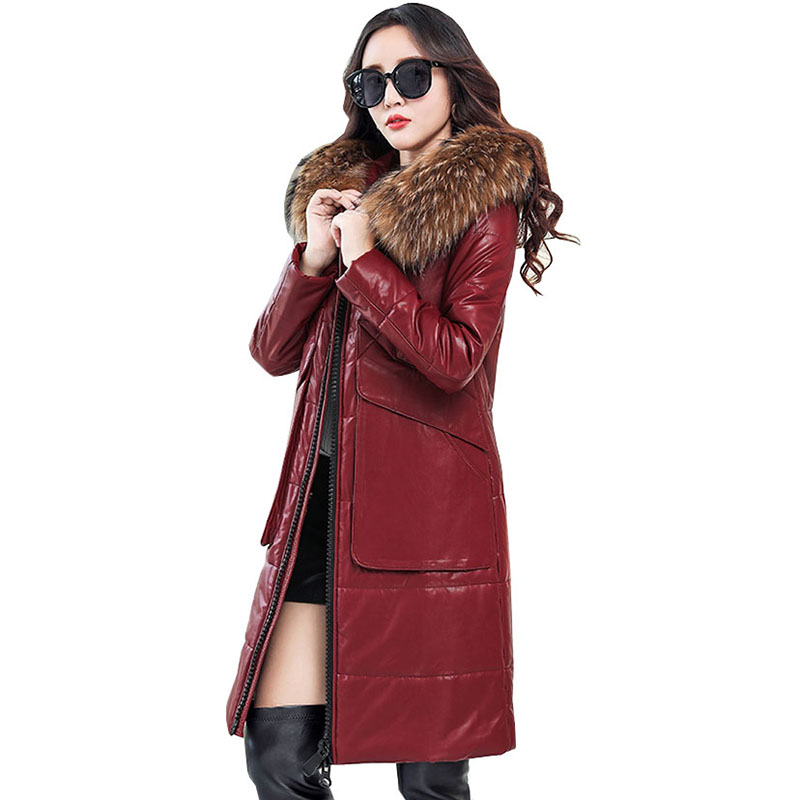 Winter Women Faux Leather Down jacket Female New Fashion Long Hooded Leather Coat Women Large size Fur collar Leather QH1039 2015 new noble leopard blending retro long leather fur jacket women s contrast color stitching faux fur coat female h1530