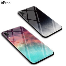 GKK Silicon Case for Huawei P20 Lite Pro Cases Cover Back Tempered Glass Fashion Pattern for huawei P20 Nova 3e fundas coque(China)