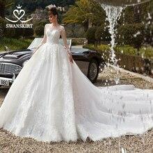 Swanskirt Appliques Lace Ball Gown Wedding Dress 2020 Luxury Scoop Long Sleeve Chapel Train Bridal gown Vestido De Noiva N119