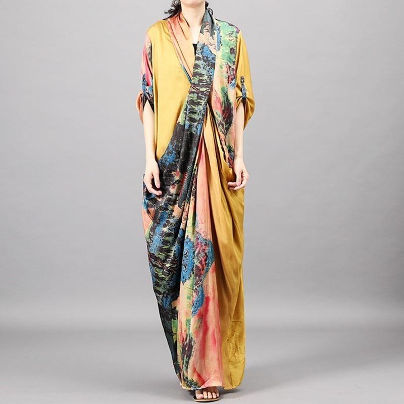 Женское платье с цветочным принтом [YaLee], платье большого размера с треугольным вырезом и рукавом три четверти, лето 2019|Платья|   - AliExpress