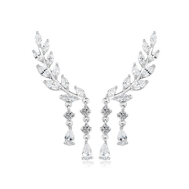 Luxury Bridal Ear Of Wheat Water Drop Cz Chandelier Earrings For Women Fashion Weddings Jewelry Silvery
