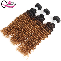 May Queen Hair Ombre T1B/30 Peruvian Deep Wave 3&4Pieces Two Tone Color Remy Hair Extensions 100% Human Hair Weave Bundles