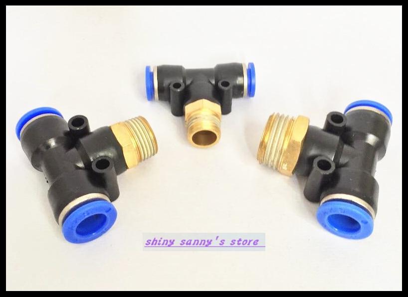 15Pcs/Lot PB10-01  10mm---1/8 Threaded Male T Tee Pneumatic Connector opulent 15 01