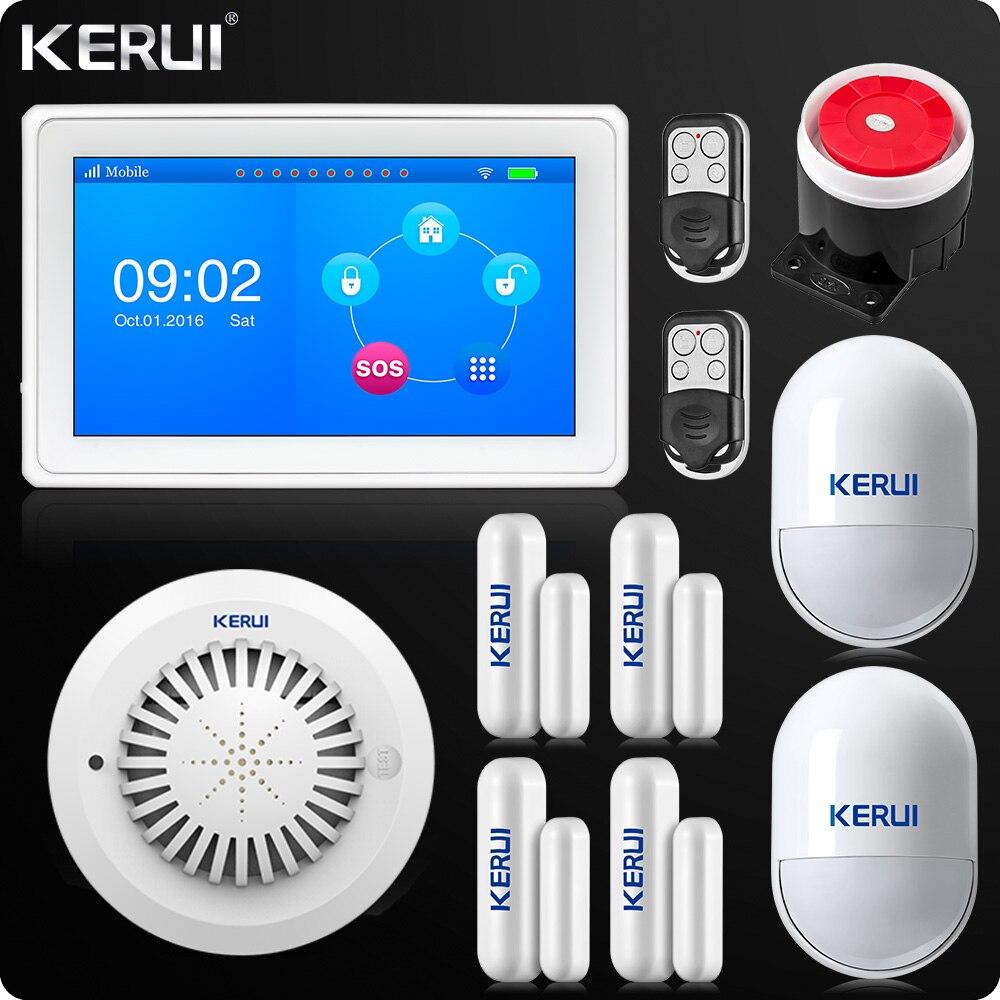 KERUI Tactile-Écran 7 pouce TFT Couleur D'affichage WIFI GSM Alarme Système D'alarme de Sécurité À Domicile fumée pir capteur