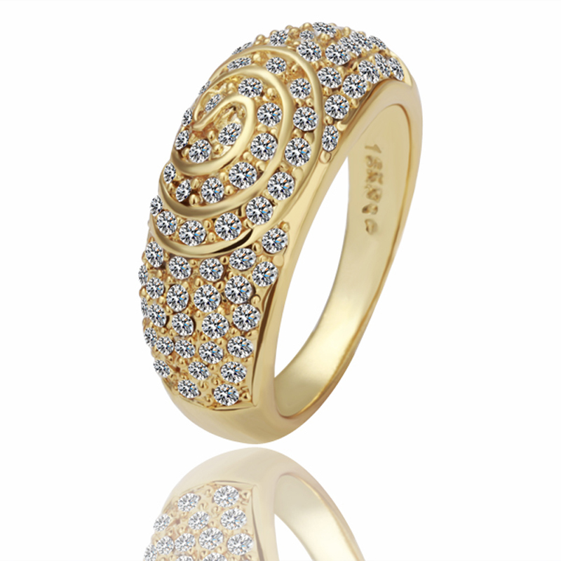 Men\'s 8K Golden Rings Crystal Ouro anel with gift box for ...