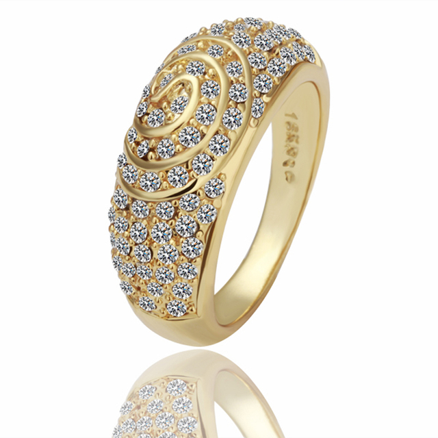 Men s 8K Golden Rings Crystal Ouro anel with t box for