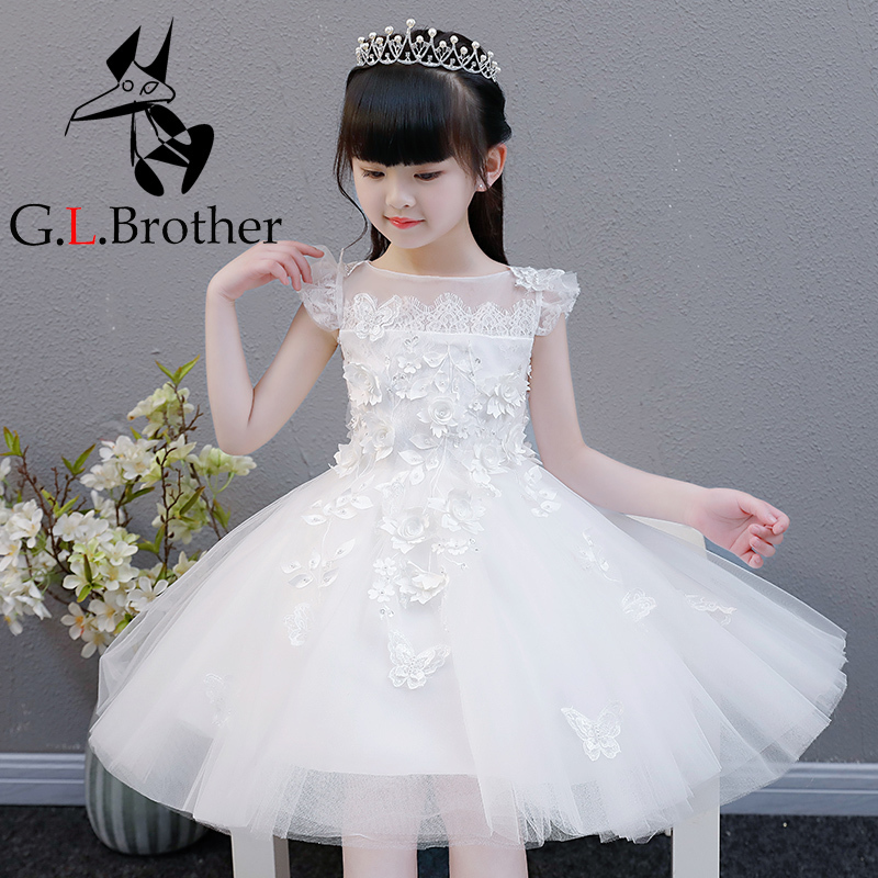 White Floral Birthday Princess Dress Evening Party Dresses Ball Gown Flower Girl Dresses For Wedding Tulle Prom Dress B194 все цены