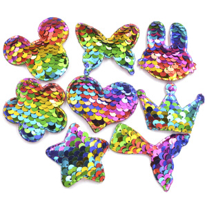 Glitter Rainbow Sequin Pads Mickey/Butterfly/Crown/Star/Heart/Flower/Mermaid Tail/Rabbit Appliques for DIY Craft Hair Clip Decor(China)