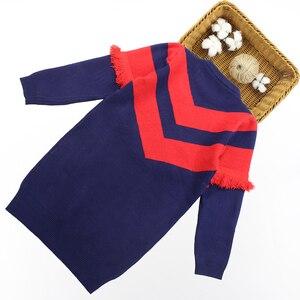 Image 2 - שמלת בנות מסיבת סתיו סוודר שמלת בנות פסים ילדים שמלת חורף בנות בגדים סרוגים 6 8 10 12 13 14 שנה
