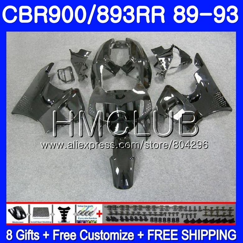 Corps noir Brillant Pour HONDA CBR900RR CBR893 RR CBR893RR 89 90 91 92 93 86HM. 17 CBR900 CBR 893RR 1989 1990 1991 1992 1993 Carénage
