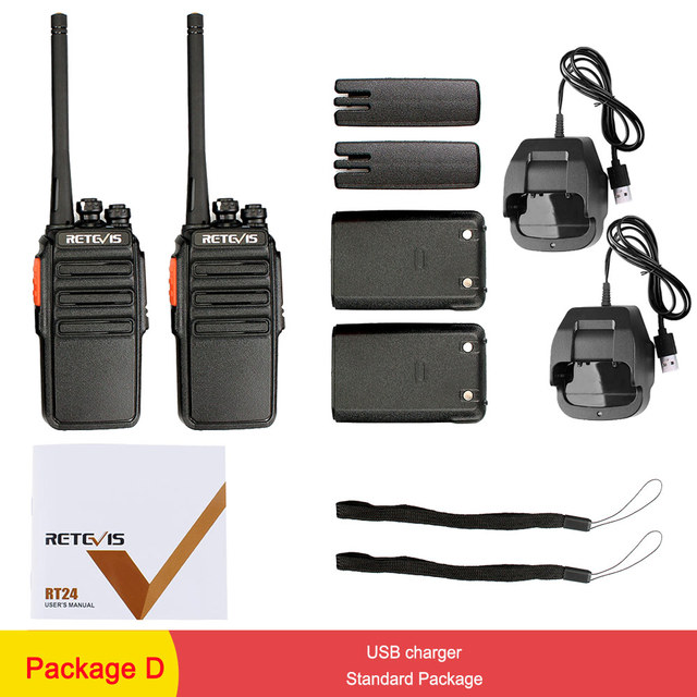 2pcs Retevis RT24 PMR Walkie Talkie License-free 0 5W 16CH UHF 446 PMR446  Scrambler VOX Handheld Two Way Radio Hf Transceiver