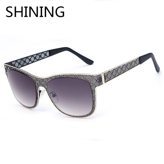 2016 New Metal Mesh hollow Fashion sunglasses Women Brand Designer Men Gradient Sun Glasses female Cat Eye Glasses Oculos de sol