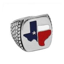Wholesale TEXAS Flag Biker Ring Stainless Steel Jewelry Vintage American Flag Motor Biker Men Ring SWR0681