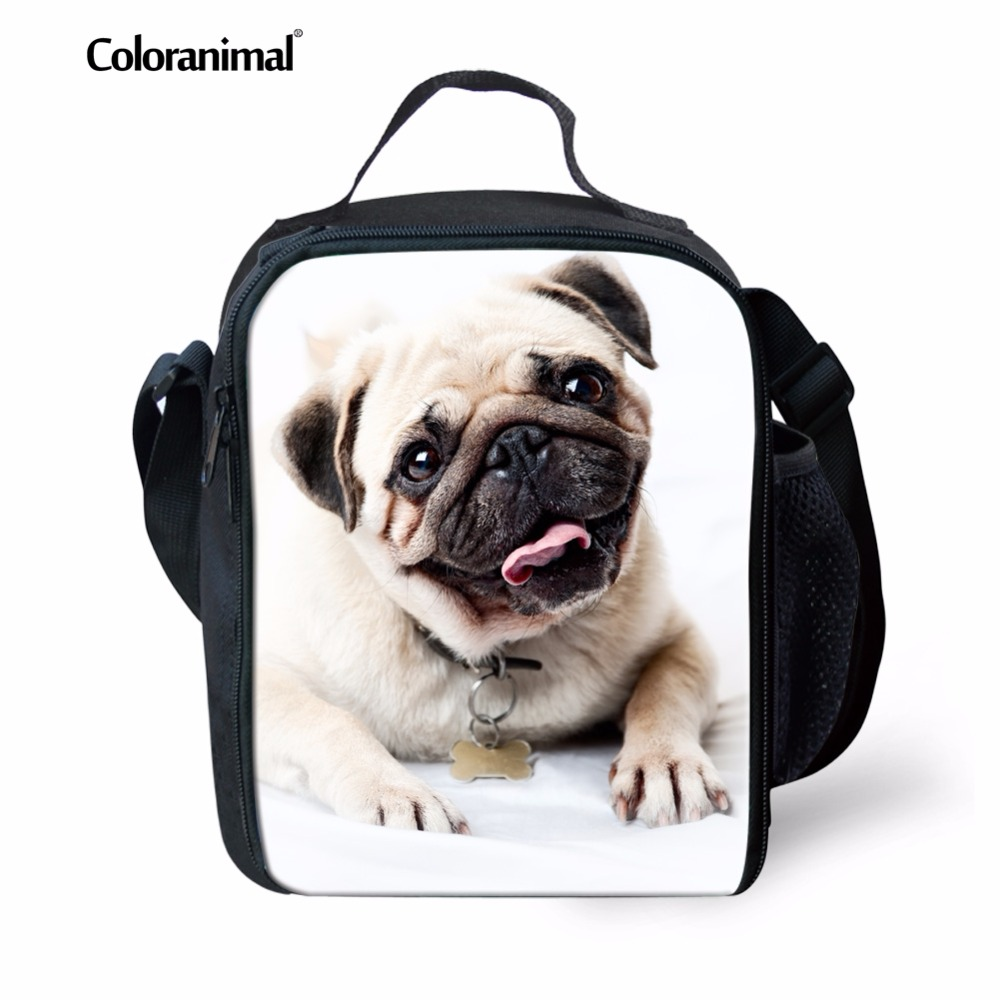 Coloranimal Mode Designer Kinder Mittagessen Taschen Nette 3d Tier Mops Bulldog Isolierte Lunch Boxes Jungen Mädchen Crossbody Mittagessen Taschen Gut Verkaufen Auf Der Ganzen Welt