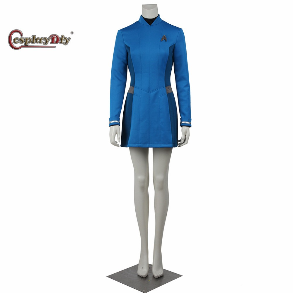 Star Trek Beyond Carol Cosplay Dress Blue Color Female Duty Uniform Adult Halloween Cosplay Costume With Badge Custom Made