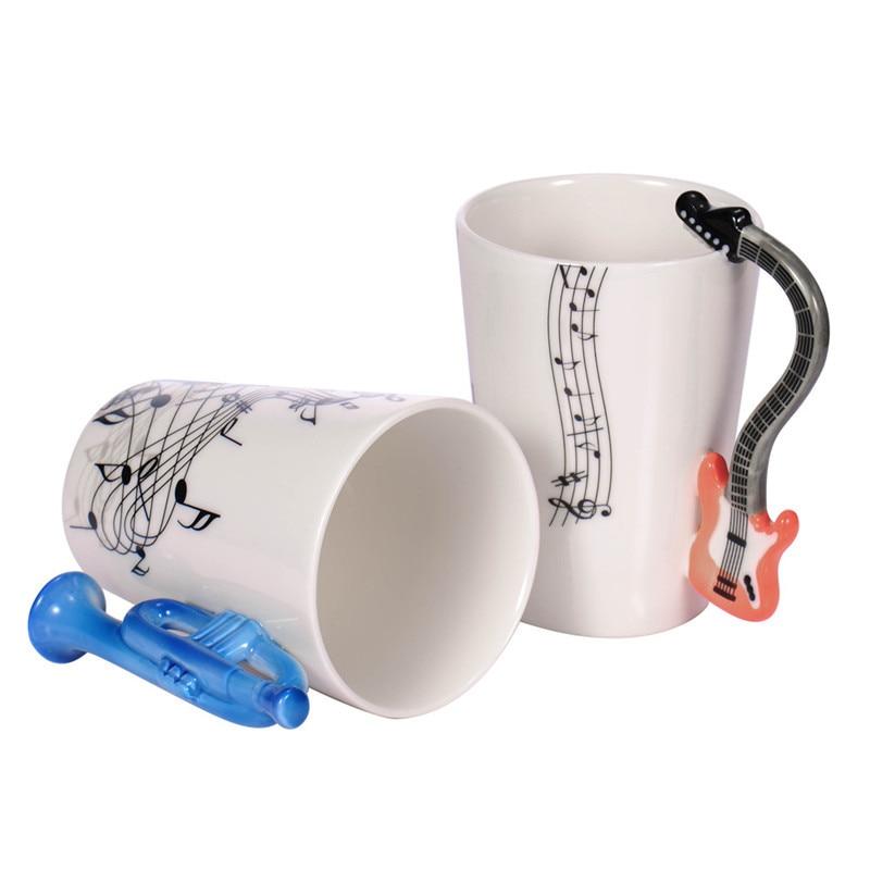 Großhandel Gitarre Keramik Tasse Persönlichkeit Musik Hinweis Milch Saft Zitrone Becher Kaffee Tee Tasse Hause Büro Drink Einzigartige Geschenk