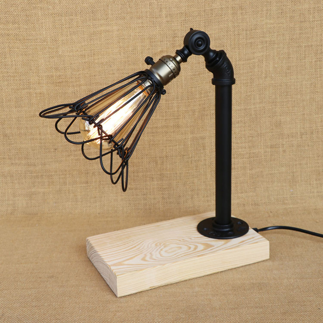 Modern Iron Wood Bird Cage Table Lamp Adjustable Iron Lampshade Desk
