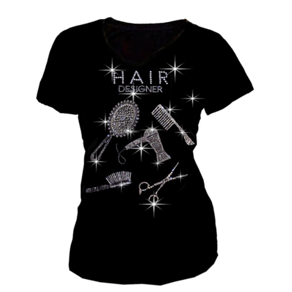 New Arrivals Women T Shirt Summer Mirror Comb Rhinestone T-shirt Casual Short Sleeve O-neck