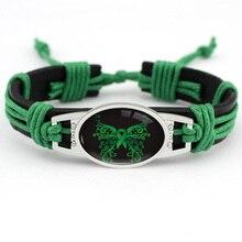 Breast Cancer Butterfly Green Ribbon Bracelets Yellow Orange Pink Leather Charm Women Men Unisex Jewelry