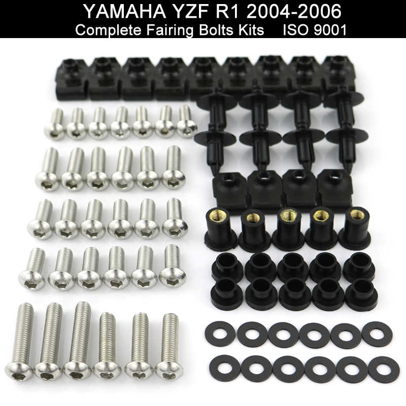 Untuk Yamaha YZFR1 YZF-R1 YZF R1 2004 2005 2006 Hadiah Baut Kit Hadiah Klip Kacang Bodi Sekrup Stainless Steel