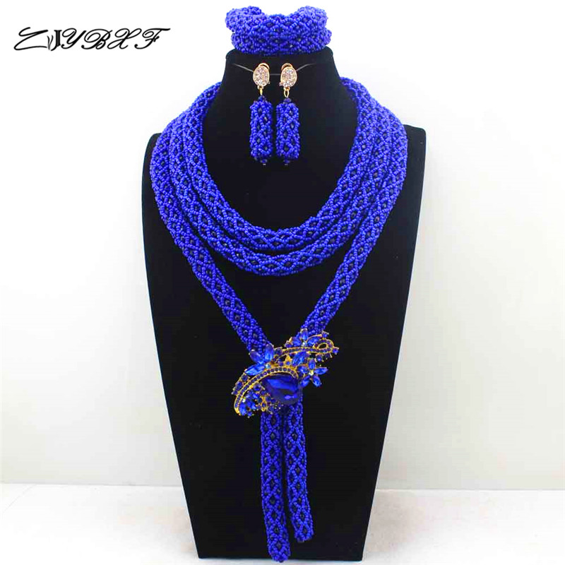 Blue!2019 Fashion Handmade African Beads Jewelry Set Costume Nigerian Wedding  L1139Blue!2019 Fashion Handmade African Beads Jewelry Set Costume Nigerian Wedding  L1139