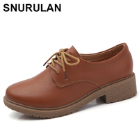 SNURULAN Leather shoes woman Suede women sneakers oxford women's shoes Lace up Luxury autumn loafers women female shoeE492