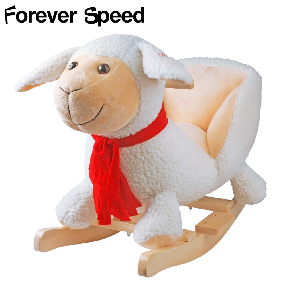 60cm Children Chairs Plush Baby Swing Chair Sheep Rocking Chair Baby Bouncer Plush Seat Kids Outdoor Ride Rocking Stroller Toy