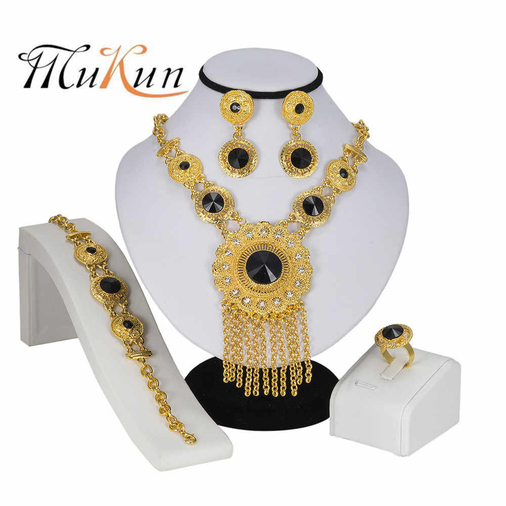 MUKUN High Fashion Dubai Jewelry Set Crystal Gold Silver Nigerian Bridal Wedding African Beads Jewellery Parure Bijoux Femme