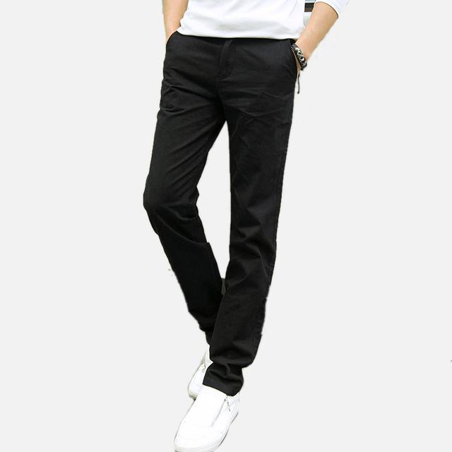 Nova Moda dos homens calças de algodão lavado calça casual homens calças retas 8 cores plus size 28 ~ 42 dos homens roupas de Alta Qualidade
