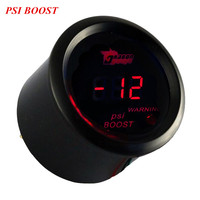 Car Universal 2 52mm Black Shell Digital Red LED PSI Turbo Boost Gauge Free Shipping