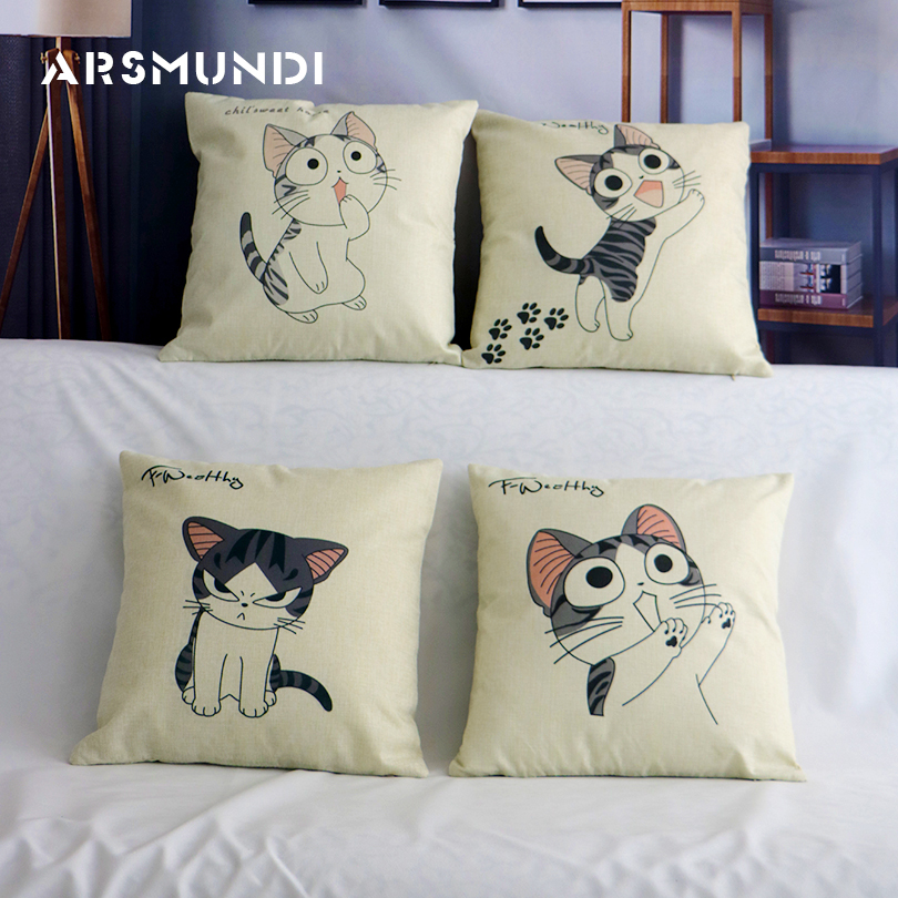 Cute Pattern Printed Linen Cushion Cover Meme Cat Animal Pillow Case