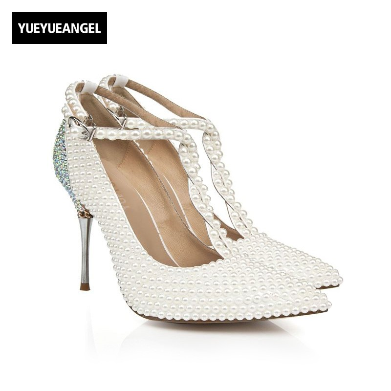 New Fashion Women Drees Shoes Pointed Toe Buckle Bead Crystal Decoration For Women Wedding Paty High Heel Shoes Lady White 2016 new fashion wedding shoes for lady pointed toe pink multi crystal party dresses shoes rhinestone high heel single shoes