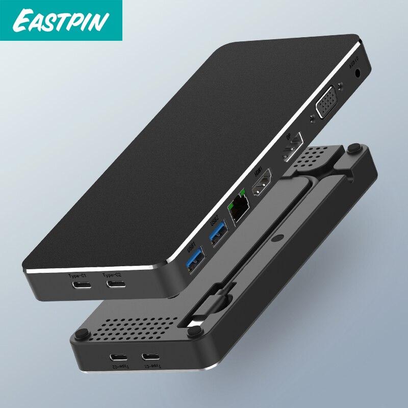 USB C adaptateur Multiple en un USB C vers HDMI/VGA/RJ45/PD/AUX adaptateur pour MacBook Samsung Galaxy S10 Huawei Mate 20 P20 Pro Type C