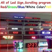 Led signe affichage Programmable défilement rouge/vert/bleu/blanc/jaune couleur semi-extérieur/intérieur, télécommande, contrôle rs232