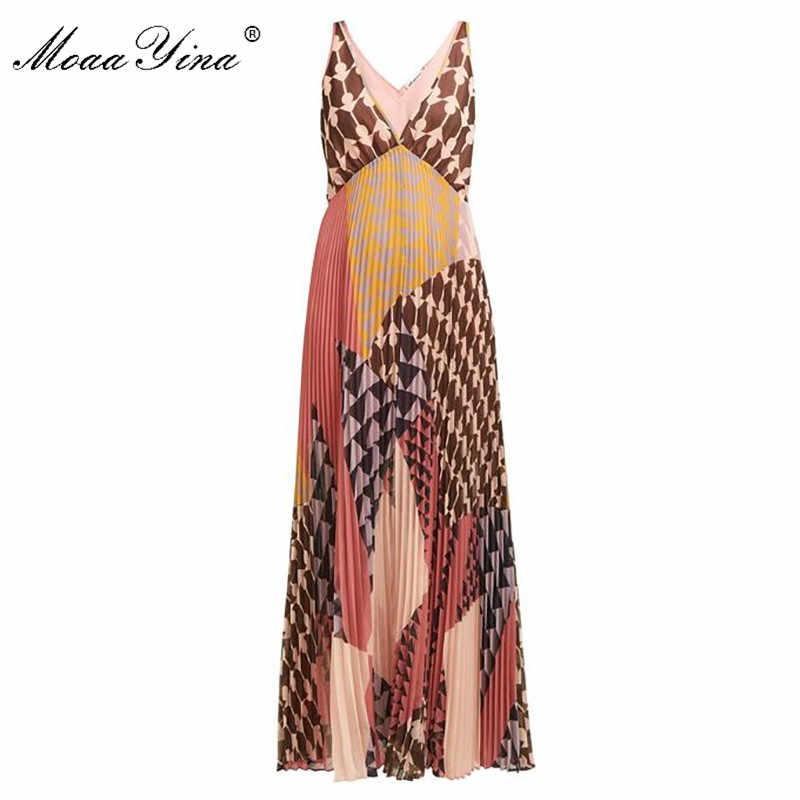 MoaaYina ファッションデザイナー新到着ディープ V 女性ドレスパーティードレス背中セクシーな休日のビーチプリーツマキシドレス
