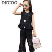 Kids Lace Outfits For Girls Clothing Sets Sleeveless T Shirts Flare Pants 2Pcs Brand Summer School