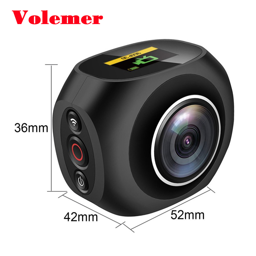 Volemer 360 Degree VR HD 4K Panoramic Video Camera High Resolution Wifi UHD Wide Angle Fish Eye Dual Lens Action Sports Camera insta360 nano 3k hd 360 panoramic camera vr camera 210 degree dual wide angle fisheye lens 360 camera for iphone 7 7 6 6s 6