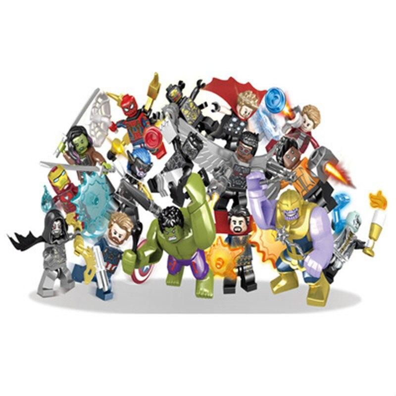 16 pz/lotto Avengers 3 Infinity War Action Figure Black Panther Thanos Hulk Building Blocks Compatibile con LegoINGlys Giocattoli Marvel