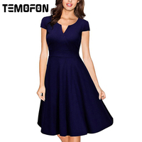 TEMOFON Women Dresses Sexy Summer Party V Neck Dress Vintage Casual Solid Elegant Ladies Dresses Plus