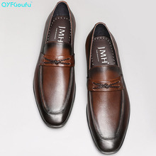QYFCIOUFU 2019 Summer New Arrival British Style Genuine Leather Mens Dress Shoes Pointed Toe Loafers Men Slip-on Wedding Shoes