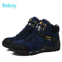 Beboy Waterproof Hiking Boots Shoes Men Genuine Leather Trekking Shoes Boots Outdoor Camping Climbng Ski High-top Sport Shoes