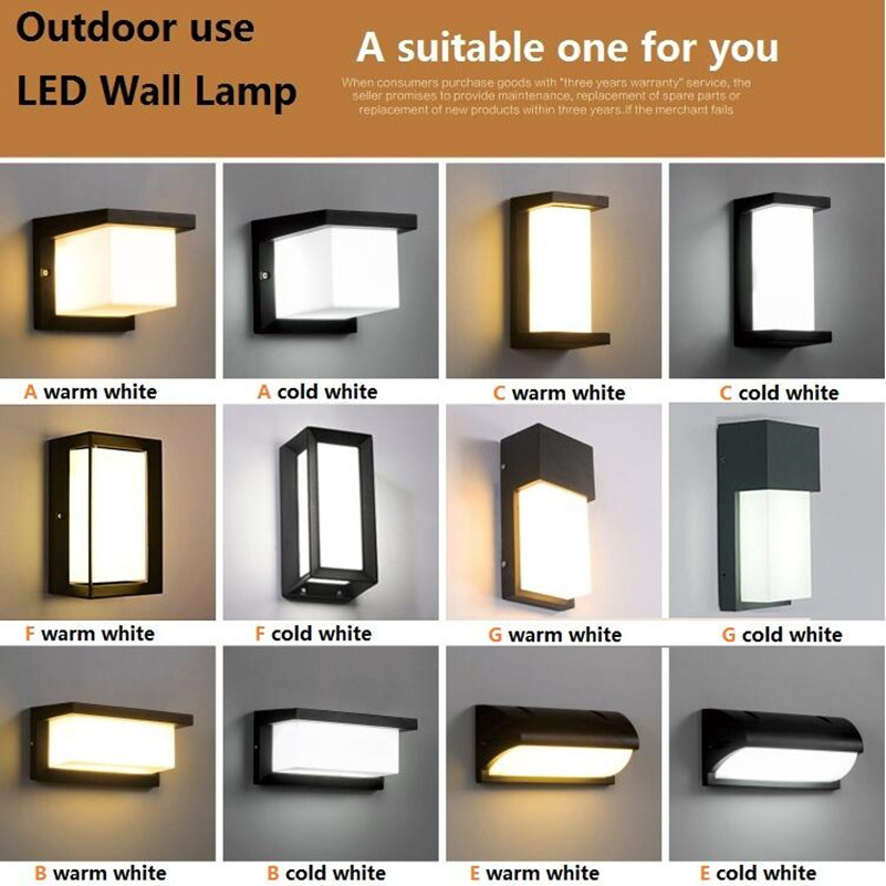 Modern LED Wall Light Outdoor Lamp for Garden Porch Waterproof Warm White New