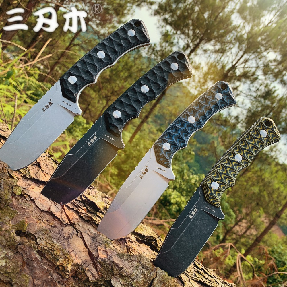 SANRENMU NEW S738 Fixed Blade Knife With K Sheath 12C27 Blade outdoor camping utility survival tactical hunting knife EDC Tool